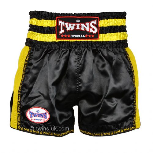 Twins TWS-924 Black/YellowRetro Muay Thai Shorts